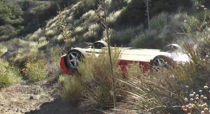 Brutal Ferrari Crashes & Tumbles Down Steep Enbankment
