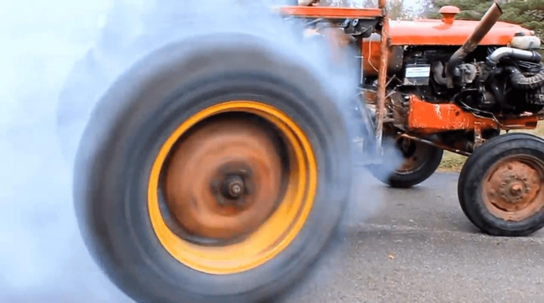 Tractor tire shredding