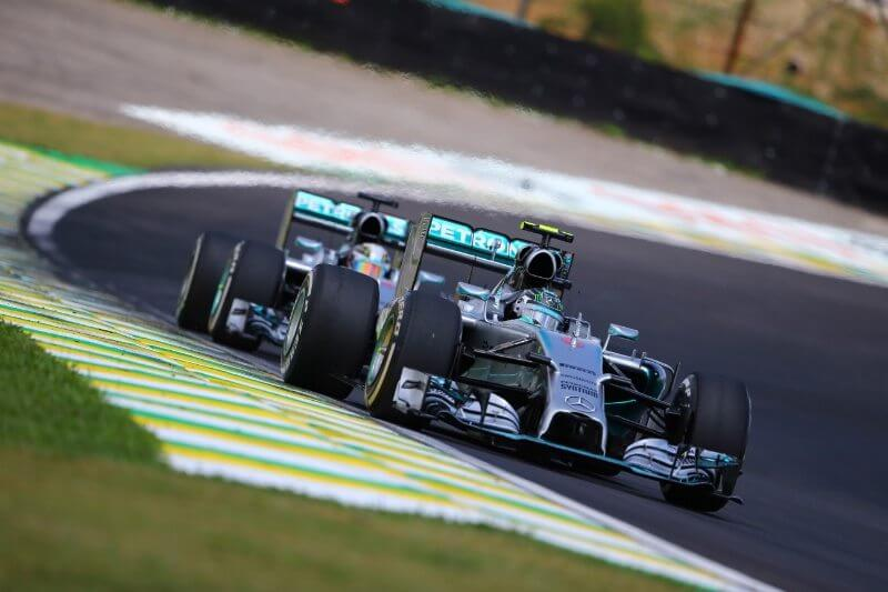 F1 2014 Brazil Rosberg leads