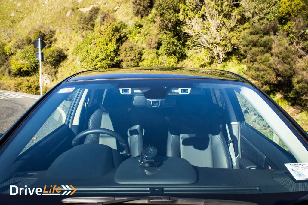 Subaru's Eyesight system's cameras can be seen at the top of the windscreen