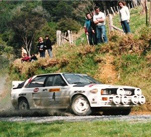 Malcolm Stewart's Audi Quattro, from the 1986 Hella Light Rally in Auckland. Photo Paul Smith
