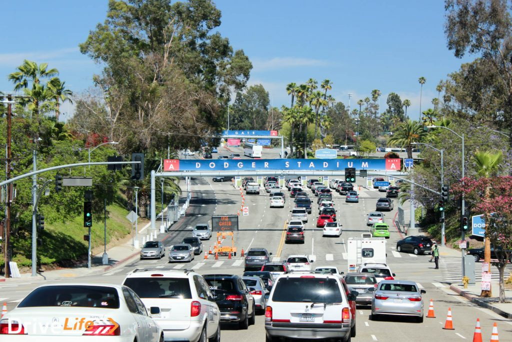 The Dodgers' stadium car park holds many, many cars. We guess 10,000. Not joking!