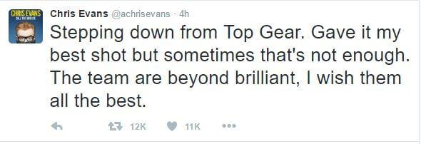 Chris evans top gear quit