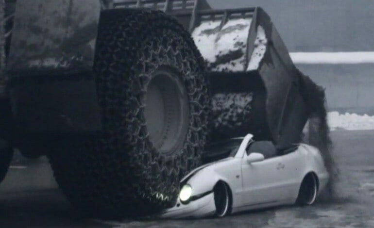 Mercedes CLK Get Crushed By A 70 Tonne Digger
