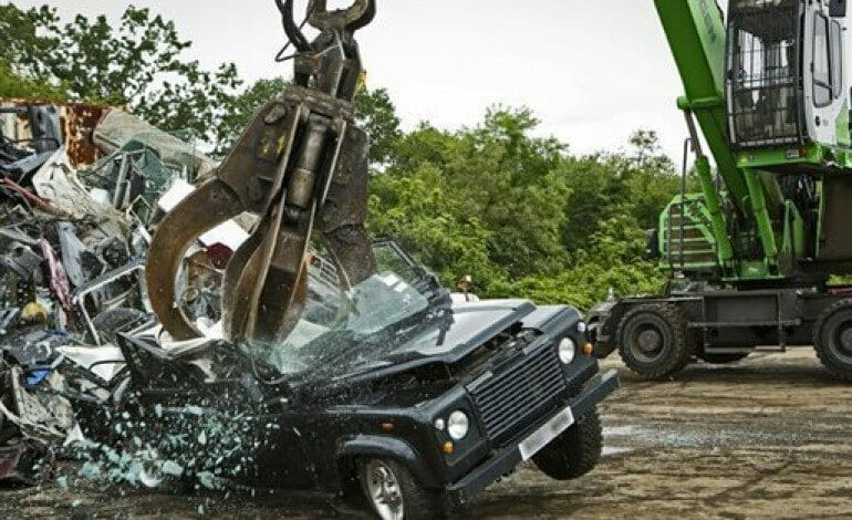 Seized Defender crushed…ouch!