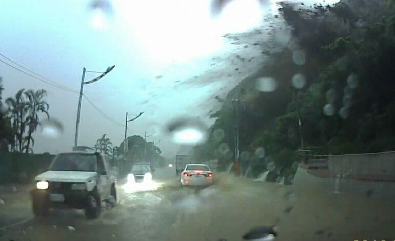 Car Almost Destroyed by Landslide in Taiwan