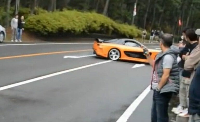 Noob RX-7 Driver Plows Into A Crowd Of People
