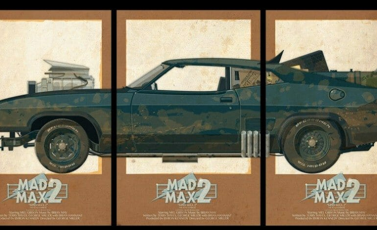 graphic posters of cars in films.