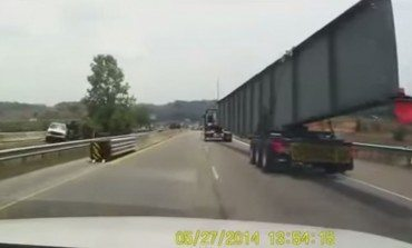 Truck Hauling Oversized Load Fail