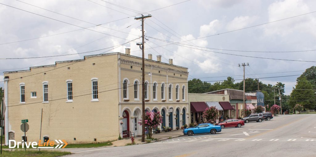 The small, sleepy town of Grantville. Building closest is where Morgan's hideout was filmed