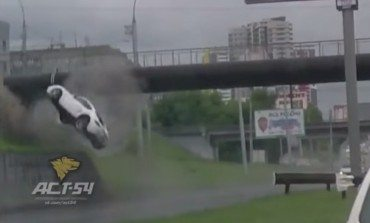 Porsche Driver Flat Spins and Flips On Highway During Heavy Weather