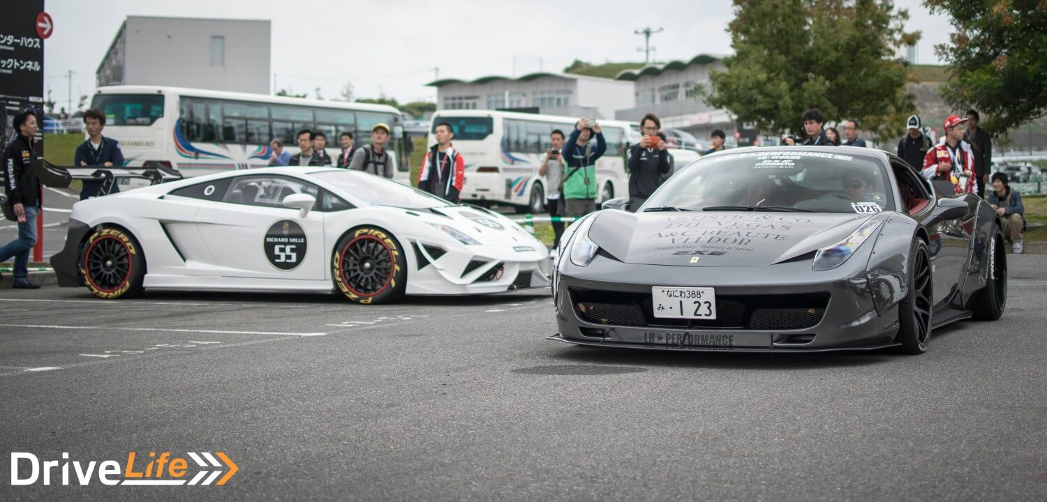 suzuka-sound-of-engine-2016-car-park-ferrari-458-liberty-walk